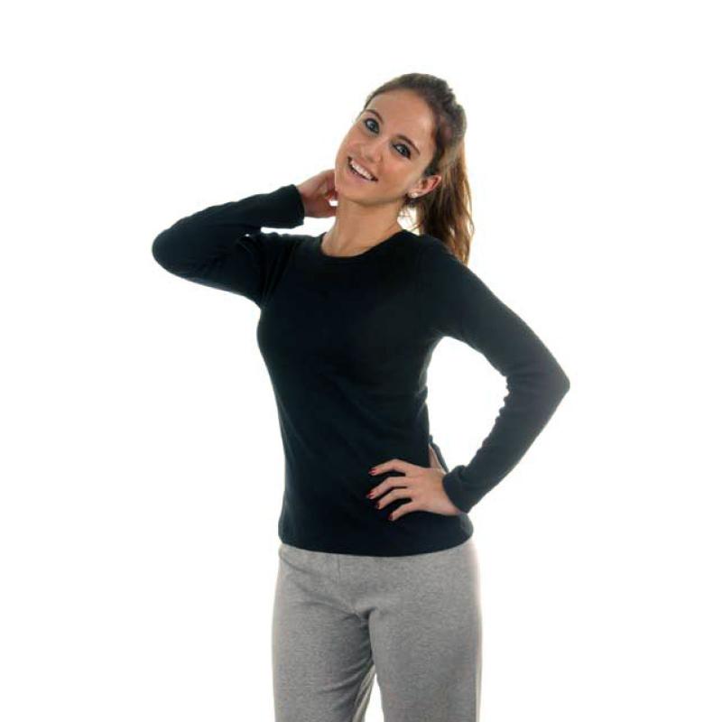 Camiseta básica manga larga mujer