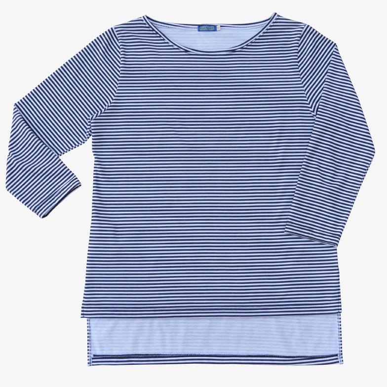 Camiseta listada manga tres cuartos